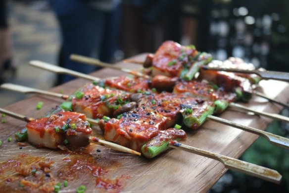 The Flying Duck Hotel - Pork belly skewers